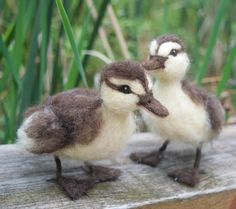 Needle Felted Duckling brown and yellow life-sized soft and