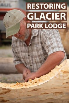 Replacing the timbers at Glacier Park Lodge is no small task. Meet the timbersmiths at Wild Mile Woodworks in Bigfork, MT who make it possible. Glacier Park Lodge, Lake Mcdonald Lodge, Many Glacier Hotel, Maple Floors, Lodges, Restoration, Watch, Cabins, Clock