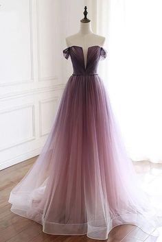 Unique Gradient Purple Tulle Long Prom Dress, Off Shoulder Evening Dress . - Unique Gradient Purple Tulle Long Prom Dress, Off Shoulder Evening Dress Source by Dresses long Source by NNellaBoganFashion - Ombre Prom Dresses, Cute Prom Dresses, Unique Dresses, Simple Dresses, Elegant Dresses, Homecoming Dresses, Beautiful Dresses, Party Dresses, Sexy Dresses