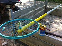 Constructing Bike Rim Flowers