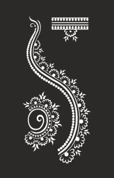 Henna design Free Coreldraw Vector (.cdr) File Flower Tattoo Stencils, Henna Stencils, Cricut Stencils, Corel Draw Design, Henne Tattoo, Clock Tattoo Design, Henna Tattoo Designs, Beaded Bracelet Patterns, Silhouette Art