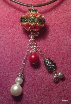 Beaded bead with Christmas Theme (Tutorial on Youtube)