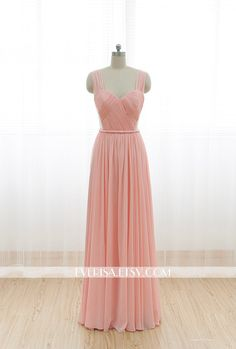 Blush Pink Chiffon Bridesmaid dress Long Prom Dress See by Everisa