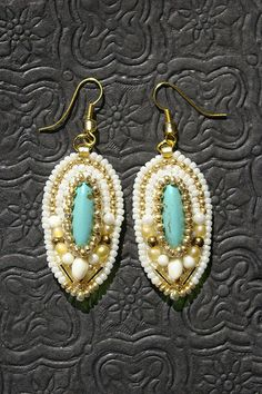 turqouise, white and gold beaded earrings