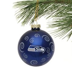 Seattle Seahawks Swirl Ball Ornament - College Navy