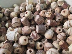 Wood Beads, Natural Rustic Wood Beads, Round Barrel, Wood Bark Beads, Natural Wood, Assorted Sizes, QTY 150 beads - wb142 by FLcowgirls on Etsy #beadsforsale #woodbeads