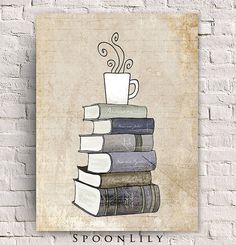 I Love Books and Coffee Print - Kitchen Art Illustration - Books and Reading Book Art - Tea Cafe Art Drawing - For Book Lover on Etsy, $8.00