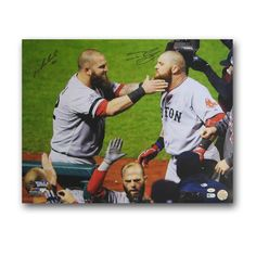 Autographed Mike Napoli and Johnny Gomes 2013 World Series Unframed 16x20 Photo