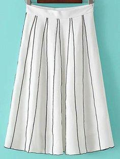 #Zaful - #Zaful Striped A Line Skirt - AdoreWe.com