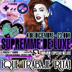 MADRID. Presentando el cotarro y luciendo pelirrojo nuestra cabaretera SUPREMME DE LUXE en el especial NAVIDAD Que trabaje Rita! el DOMINGO 4 DICIEMBRE desde las 23H en sala ARENA con FÓRMULA ABIERTA MS NINA. SALA POP. SALA HOUSE y un montón de artistas música fiesta y sorpresas.  ENTRADAS ANTICIPADAS RESERVADOS Y LISTAS de ANDY PEOR al WhatsApp 699 405 388 QUE TRABAJE RITA!  SALA ARENA (Antigua Heineken/Marco Aldany)  C/ Princesa 1