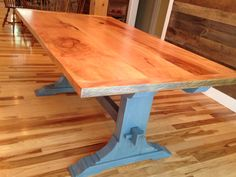 Custom trestle table sycamore wood top blue stain www.ScwCreativeRenovations.com   Connecticut