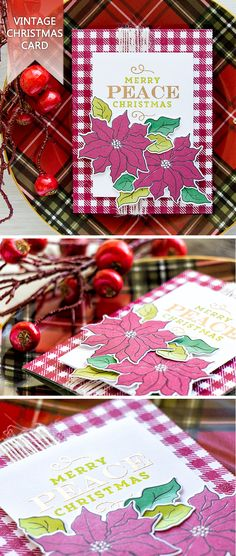 Create vintage Christmas card with the help of Simon Says Stamp Poinsettia stamp set. For details, visit http://www.yanasmakula.com/?p=55849