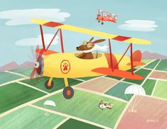Special Delivery Squad    dachshund dogs, bi plane, airplane, dog lover, cute illustration, children's books, art for licensing, art licensing