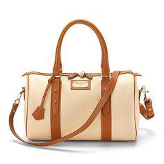 Boston Handbag in Cream Pebble & Tan