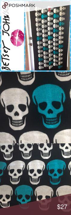 Betsey Johnson Aqua Color Skull Party Beach Towel Betsey Johnson Aqua Color Skull Party Beach Towel Betsey Johnson Swim