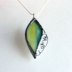 Stained Glass Leaf Drop Necklace - OOAK.  Made by artist Lidia at  L.A. Glass Studio