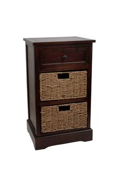 Two Basket Side Table Storage Chest - Walmart.com