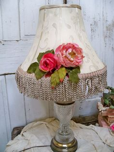 Large adorned upcycled shabby chic lampshade by AnitaSperoDesign, $80.00