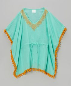 Look what I found on #zulily! Aqua & Orange Pom-Pom Kaftan - Toddler & Girls by Azul Swimwear #zulilyfinds