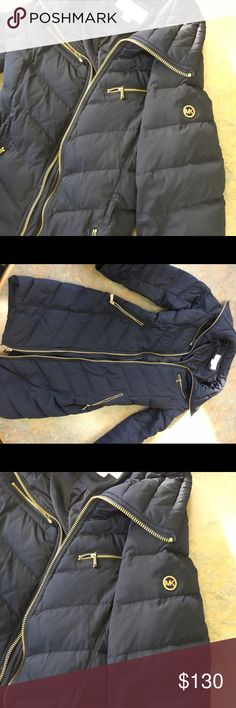 Michael Kors navy blue jacket! Great condition! This jacket is so cute and I love it, but it's getting warm again and I don't have a purpose to wear it! It's in great condition! It comes with a belt that says MK in gold on the front, but I took it off, it's able to be put back on if wanted! I will be posting a pic later! Size extra small, but definitely can fit as a small! Michael Kors Jackets & Coats