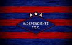 Download wallpapers Independiente FC, 4k, Paraguayan Primera Division, logo, soccer, football club, Paraguay, Independiente FBC, art, wooden texture, FC Independiente