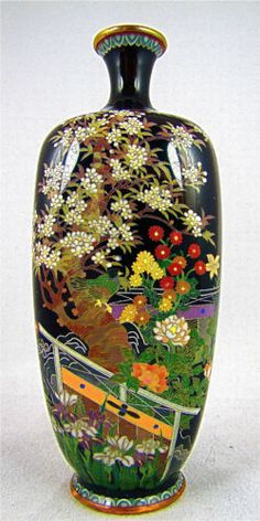 Very Fine Antique Japanese Meiji Cloisonne Vase w Garden Fences   eBay