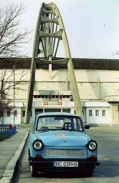 Bacău, Sala Sporturilor and Trabant car. East Germany, Soviet Union, Brutalist, Macedonia, Romania, Modern Architecture, Restoration, Building, Modernism