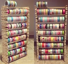 Creative way to save your washi. Creative way to save your washi. This craft uses stacked clothespins that hold wooden sticks to hold up Washi Tape. You can get all the materials everywhere where craft items are sold. Make sure you use wood … Craft Room Storage, Craft Organization, Storage Ideas, Ribbon Organization, Diy Storage, Storage Boxes, Paint Storage, Creative Storage, Office Storage