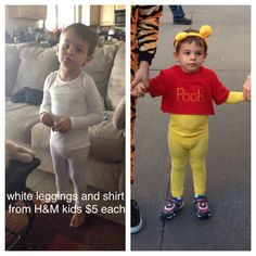 Winnie the Pooh DIY costume. Toddler size, no fur. Yellow rit dye $3 & yellow marker pen craft store $2 Red toddler shirt target $4 Pooh ears amazon $7 Easy, cheap and great for Mickeys not so scary Halloween party!