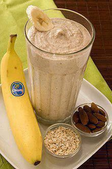 Banana Oatmeal Smoothie Recipe  Almonds, cooked oatmeal, bananas and yogurt meet up in your blender for a power breakfast. Drink this Banana Oatmeal Smoothie before your morning exercise routine and you'll have the energy you need to get through your workout.