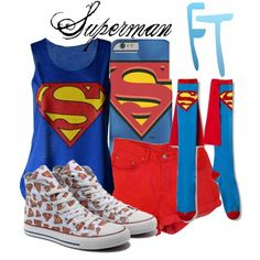 Superman by fandom-trending on Polyvore featuring polyvore fashion style Converse