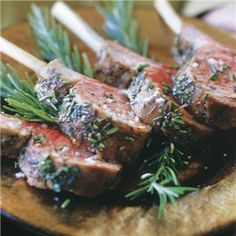 In this recipe, racks of lamb are roasted in the oven, which allows the meat to become gently infused with the piney scent of fresh rosemary as it cooks. Using sea salt, rather than conventional salt, helps to create a crust on the lamb. Lamb Recipes, Entree Recipes, Wrap Recipes, Dinner Recipes, Cooking Recipes, Healthy Recipes, Roasted Lamb Chops, Lamb Dinner, Food Inspiration