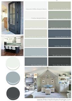 """""""Go To"""" Paint Colors Versatile paint colors that consistently work well in different lighting situations. The Creativity ExchangeVersatile paint colors that consistently work well in different lighting situations. The Creativity Exchange Interior Paint Colors, Paint Colors For Home, Paint Colours, Interior Painting, Gray Interior, Furniture Paint Colors, Blue Grey Paint Color, House Color Schemes Interior, Basement Color Schemes"""