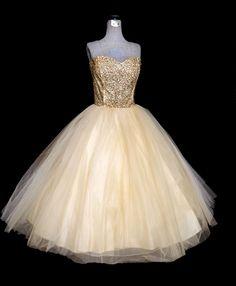 1950's GOLD SEQUIN Strapless Evening Wedding Dress Full White Tulle Skirt