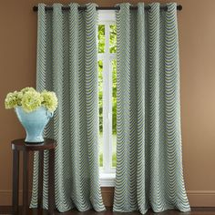 Scallop Curtain - Blue & Green-- Pier 1 Imports