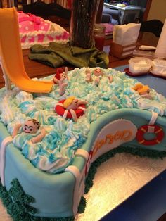 Swimming pool cake; pool party cake