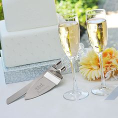Personally Engraved Gifts  - 25th Wedding Anniversary Flutes