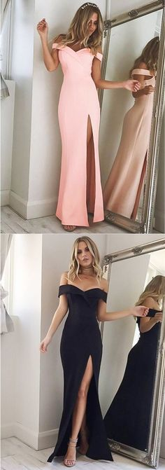 Long Slit Prom Dresses,Off The Shoulder Evening Gowns,Sexy Bridesmaid Dresses,Prom Dresses 2018