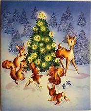 #178 50s Cute Deer & Animals Around the Tree-Vintage Christmas Greeting Card