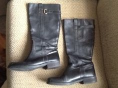 Item: J Crew black leather riding boots