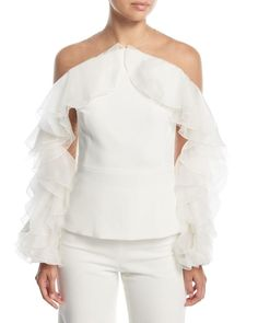 Mesh Long Sleeve, Ruffle Sleeve, Puffy Sleeves Blouse, Ruffle Blouse, Crepe Top, White Off Shoulder, Asymmetrical Tops, Types Of Sleeves, Sleeve Types