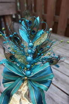 Peacock Tree Topper by InteriorCreationsJen on Etsy, $30.00