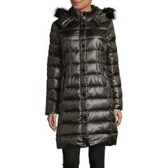 Donna Karan Women's Faux-Fur Trimmed Button-Front Puffer Coat ($206) ❤ liked on Polyvore featuring outerwear, coats, black, loden coat, donna karan, faux fur trim coat, feather coat and puffer coat