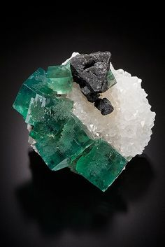 Fluorite and Galena on Quartz Rat Hole Pocket, Rogerley Mine Frosterley, County Durham England by Heart Gems Gallery