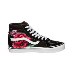 Vintage Rose Custom Vans ($125) ❤ liked on Polyvore featuring shoes