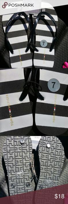 NWT Tommy Hilfiger flip flops Black & White...never worn....Tommy Hilfiger flip flops Size 7-8  No trades Love offers Tommy Hilfiger Shoes Sandals