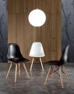 Chaise de salle à manger design ASCO, coloris blanc, bois naturel et noir
