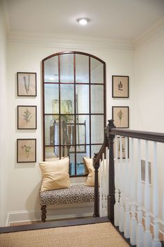 Melissa payne baker's home featuring ballard designs amiel mirror stair gallery, decorating stairway walls, Stair Landing Decor, Staircase Wall Decor, Staircase Landing, Stair Decor, Entryway Stairs, Wall Decor For Stairway, Ideas For Stairway Walls, Foyer Wall Decor, White Staircase