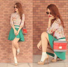 Wildfox Starstruck Sunnies, United Colors Of Benetton Floral Shirt, United Colors Of Benetton Teal Skirt