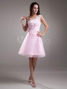 robe sublimée de cocktail A-ligne rose en tulle à une épaule avec dentelle mini - Milanoo.com